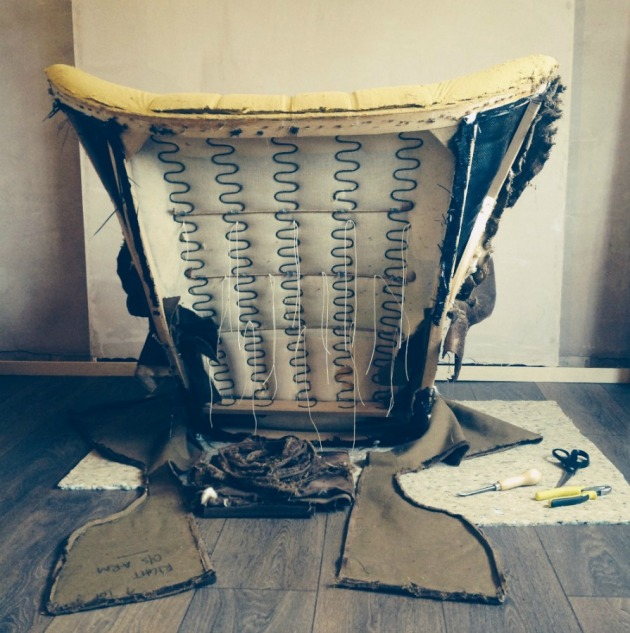 G Plan 6250 Chair Back stripped down