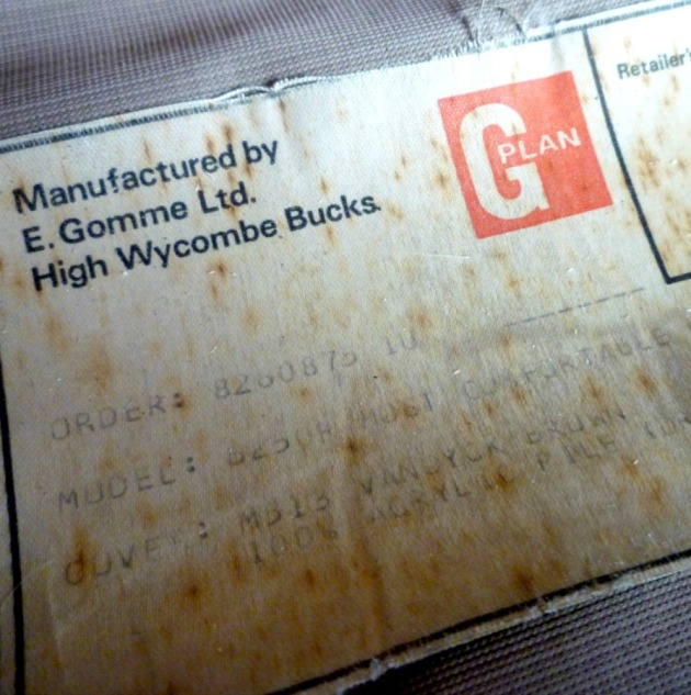 Original G Plan Label on vintage 6250 Chair