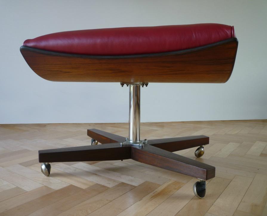 Custom Vintage G Plan 6250 Swivel Chair Ottoman In Red