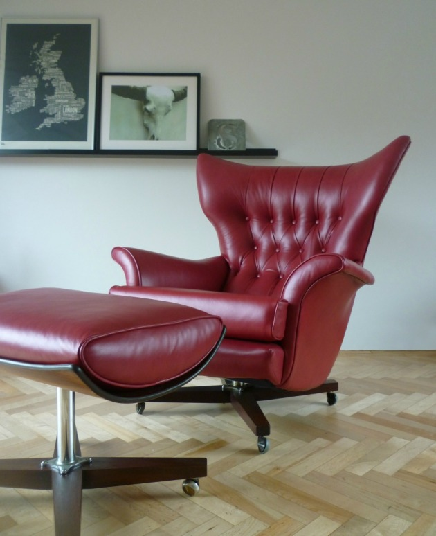 Vintage G Plan 6250 Swivel Chair in custom red leather footstool