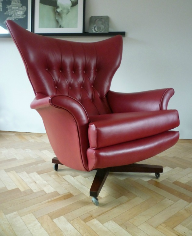 Vintage G Plan 6250 Swivel Chair in custom red leather front
