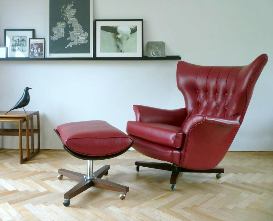 Custom Vintage G Plan 6250 Swivel Chair Ottoman In Red Leather FLORRIE BILL