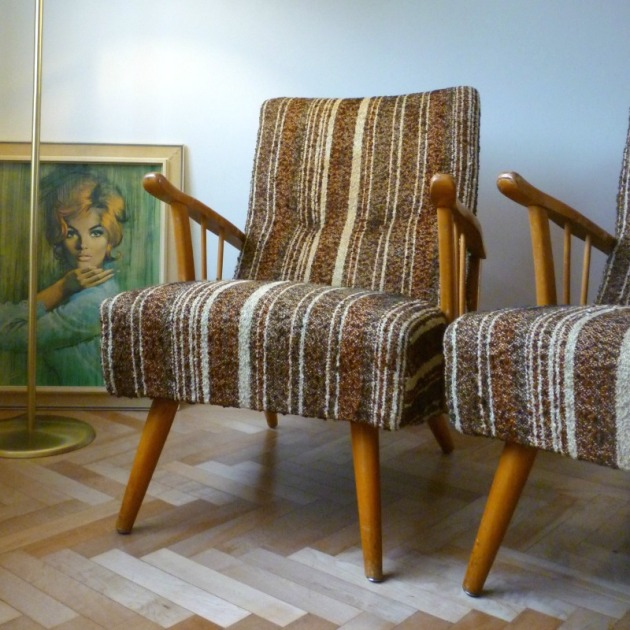 Vintage Danish Harp Arm Armchairs