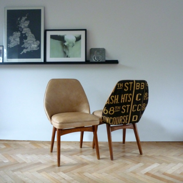 Restored Retro Benchair Dining Chairs Duo Andrew Martin Concourse