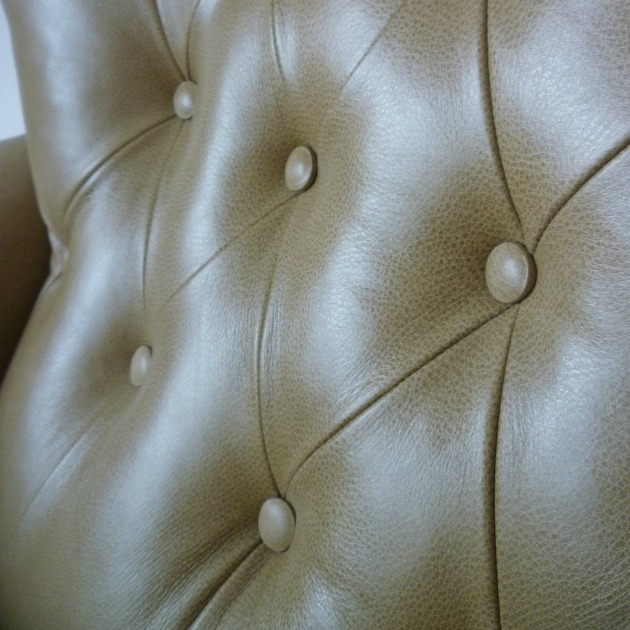 Vintage G Plan 6250 Swivel chair buttoning in Parchment Leather