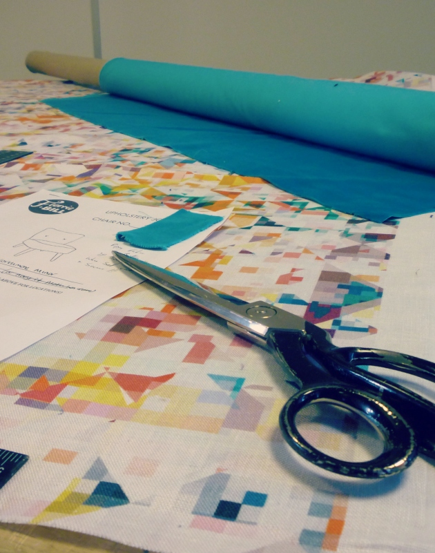 Cutting Flock Studio Fabric for Florrie and Bill Cocktail Chairs