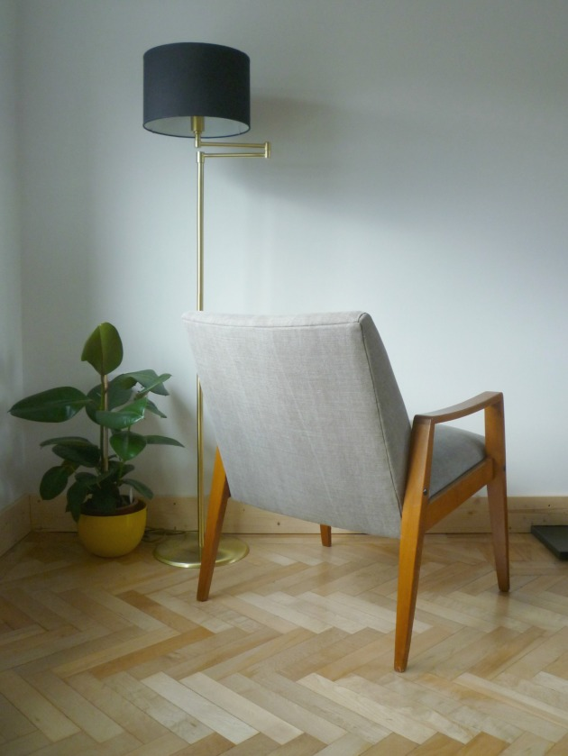 Danish Armchair back in Grey Villa Nova Geneva Vintage with Flock Cushion by Florrie and Bill