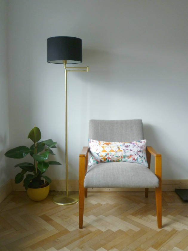 Danish Armchair front in Grey Villa Nova Geneva Vintage with Flock Cushions by Florrie and Bill