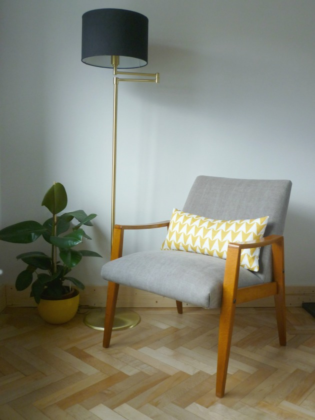 Danish Armchair in Grey Villa Nova Geneva Vintage with Flock Cushion by Florrie and Bill