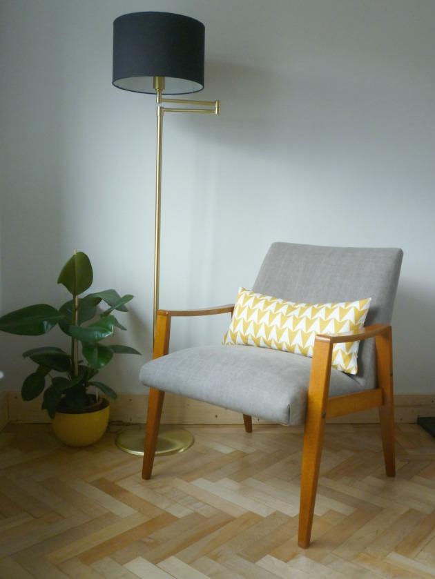 Danish Armchair in Grey Villa Nova Geneva Vintage with Flock Cushion by Florrie and Bill