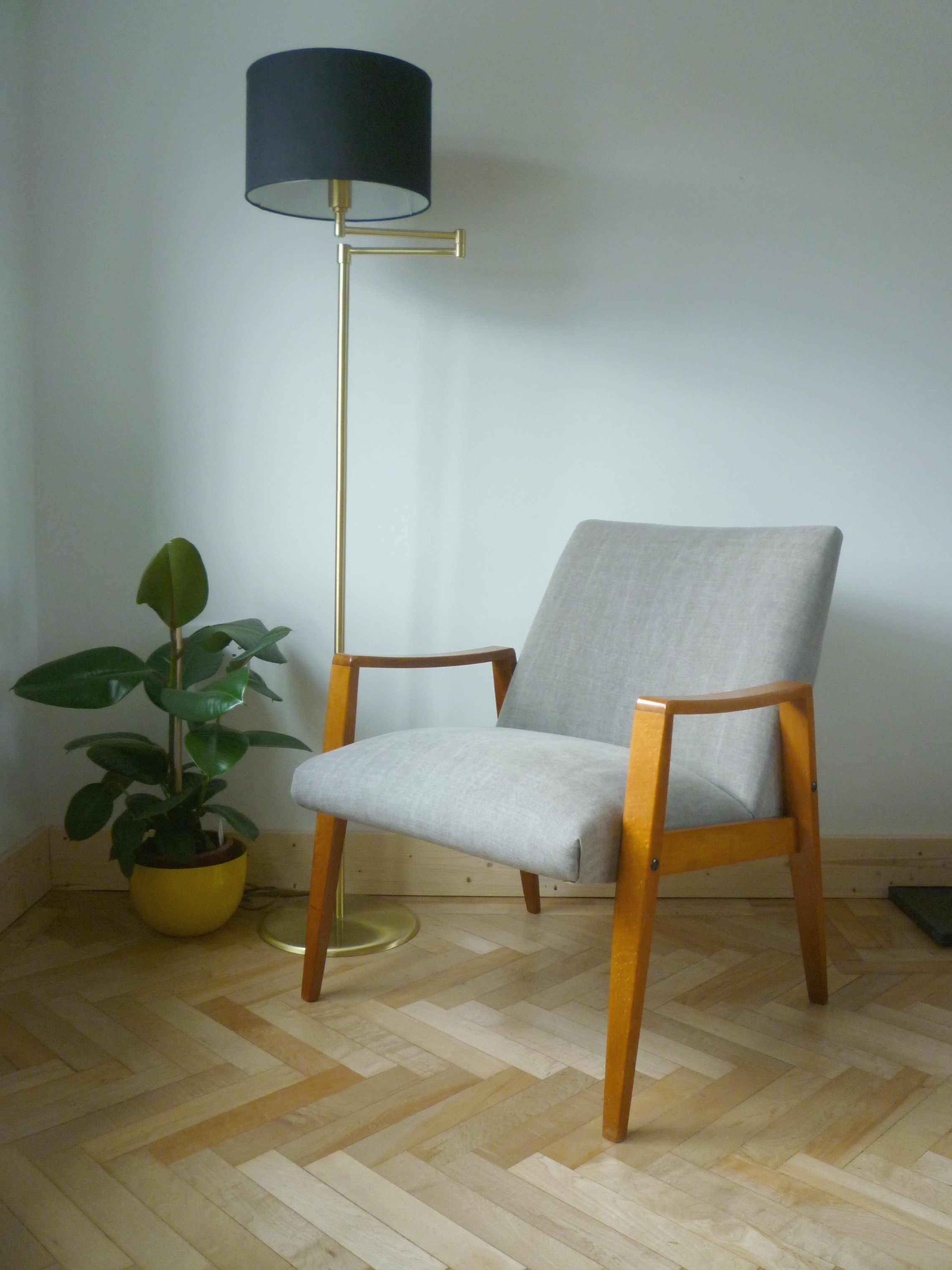 Danish Armchair Side On In Grey Villa Nova Geneva Vintage With Flock  Cushions By Florrie And