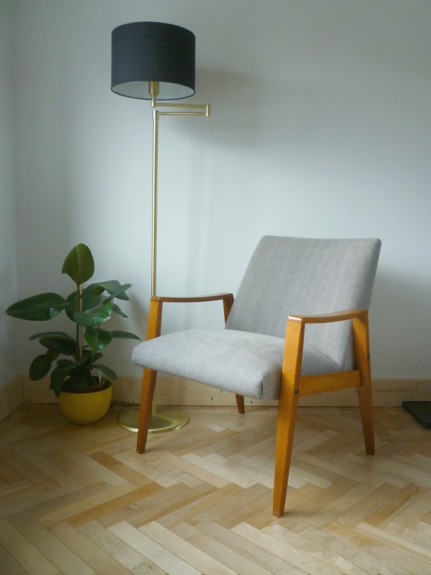Danish Armchair side on in Grey Villa Nova Geneva Vintage with Flock Cushions by Florrie and Bill