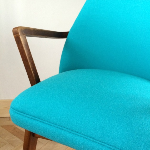 Detail of Restored Retro Benchair Carver Dining Chair in Bute Wool Grey and Blue