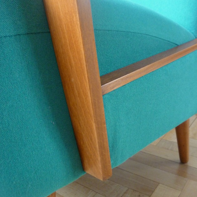 Florrie and Bill Danish Armchair Detail in Teal Designers Guild Allian fabric