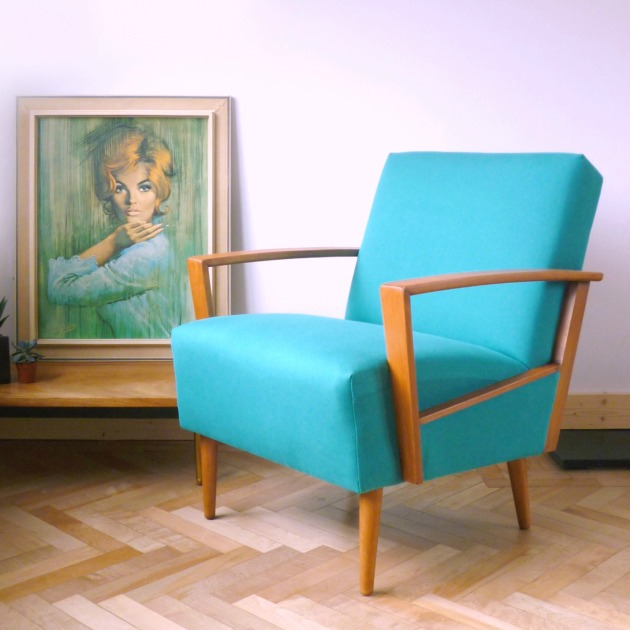 Florrie and Bill Danish Armchair in Teal Designers Guild Allian fabric