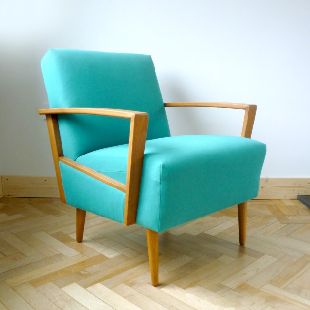 Florrie and Bill Danish Armchair Side 2 in Teal Designers Guild Allian fabric