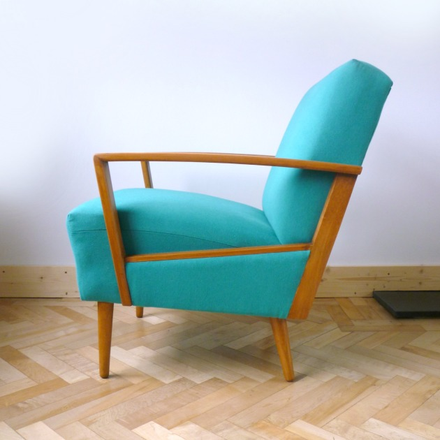 Florrie and Bill Danish Armchair Side in Teal Designers Guild Allian fabric