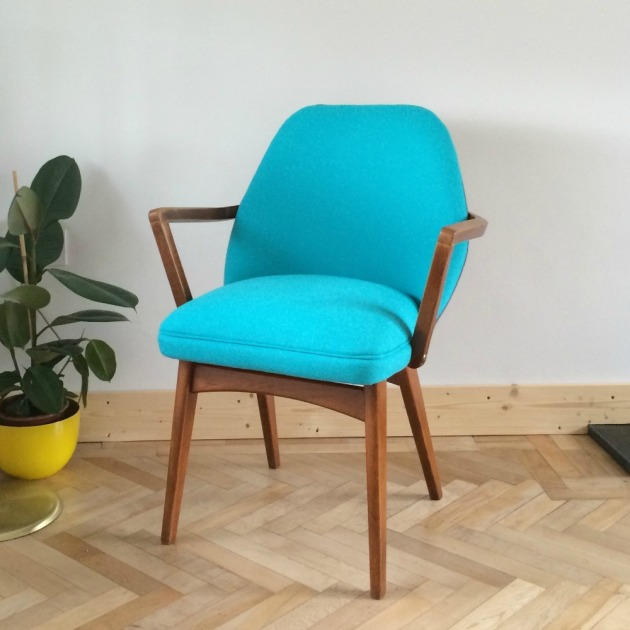 Restored Retro Benchair Carver Dining Chair in Bute Wool Grey and Blue