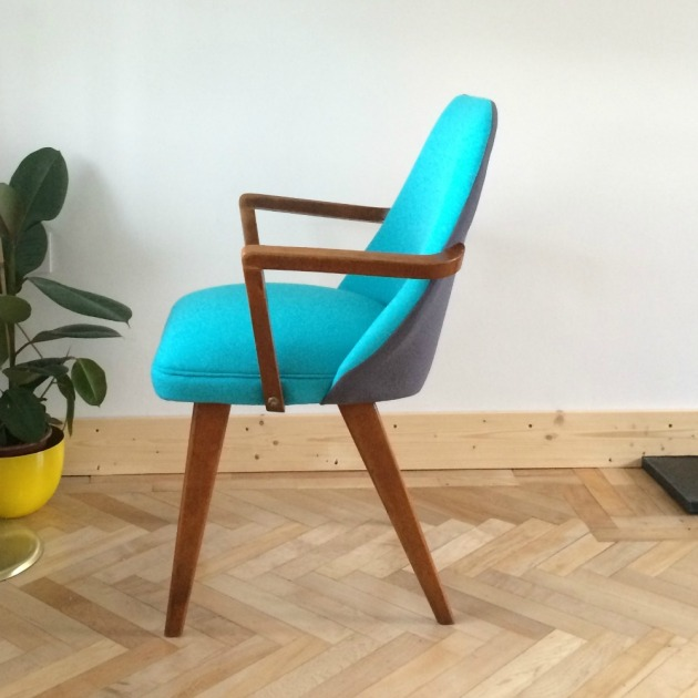 Restored Retro Benchair Carver Dining Chair side in Bute Wool Grey and Blue