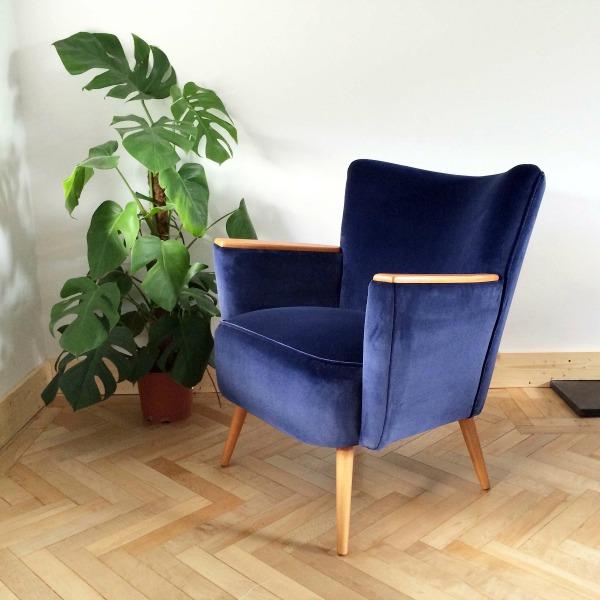 Florrie+Bill Vintage Danish Armchair In Navy Velvet ...