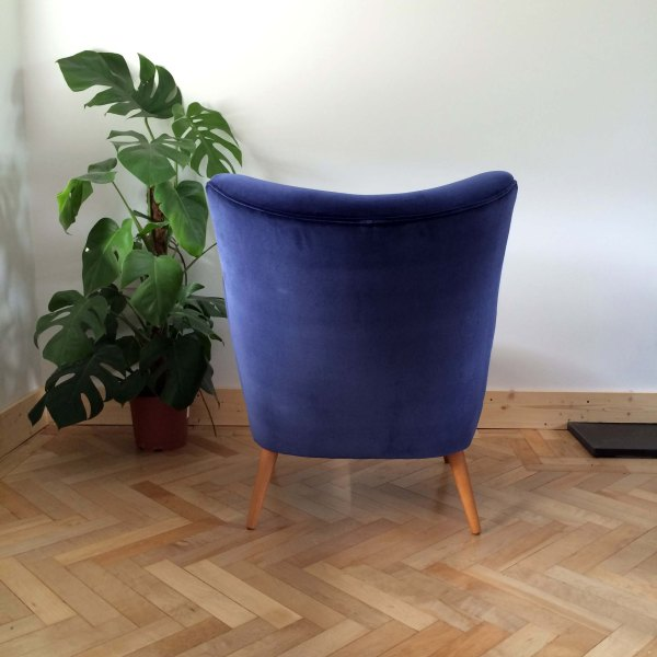 Vintage Danish Armchair Back View in Navy Ink Velvet