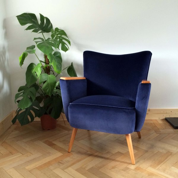 Vintage Danish Armchair Front View in Navy Ink Velvet