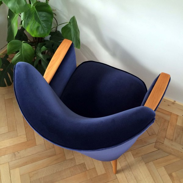 Vintage Danish Armchair Side in Navy Ink Velvet