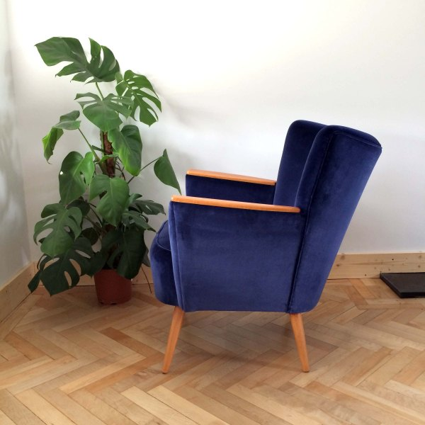 Vintage Danish Armchair Side On View in Navy Ink Velvet