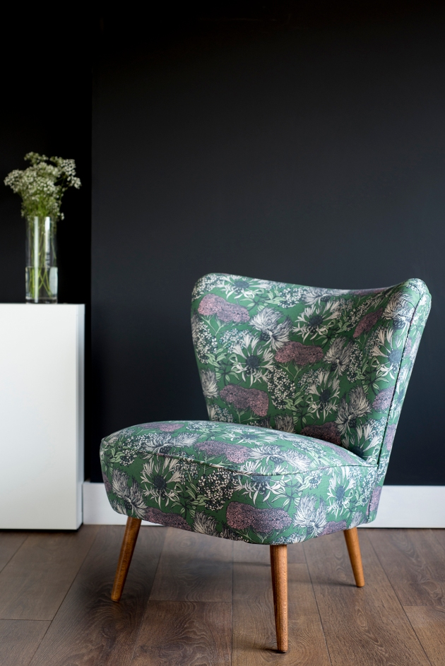 Florrie+Bill Abigail Borg Hello Yarrow Teal Vintage Cocktail Chair Lifestyle Black Wall Shot
