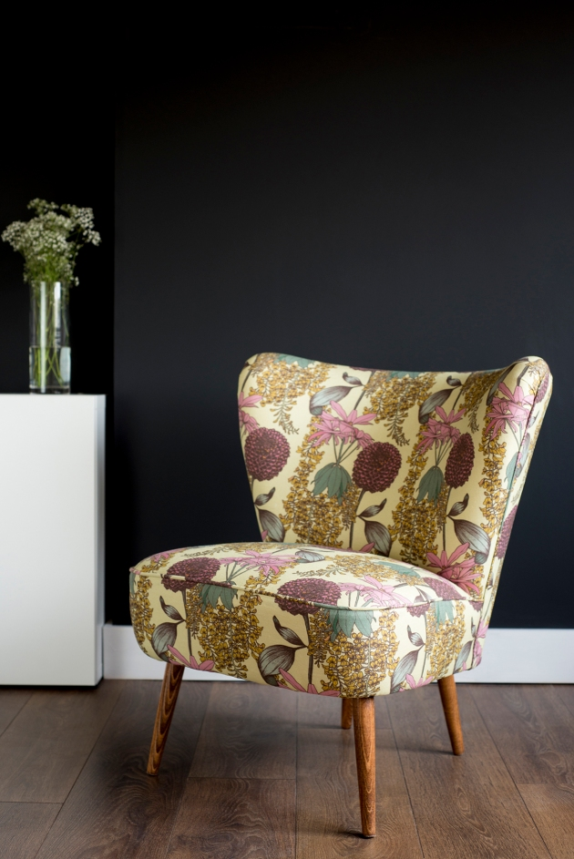 Florrie+Bill Abigail Borg Laburnum Raspberry Vintage Cocktail Chair Lifestyle Black Wall