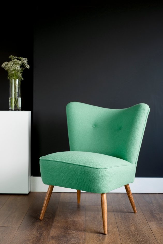 Mint Green Menthol Bute Wool Vintage Cocktail Chair