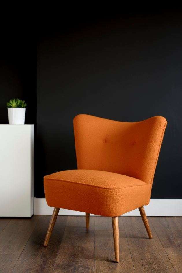 Orange Bute Wool Vintage Cocktail Chair