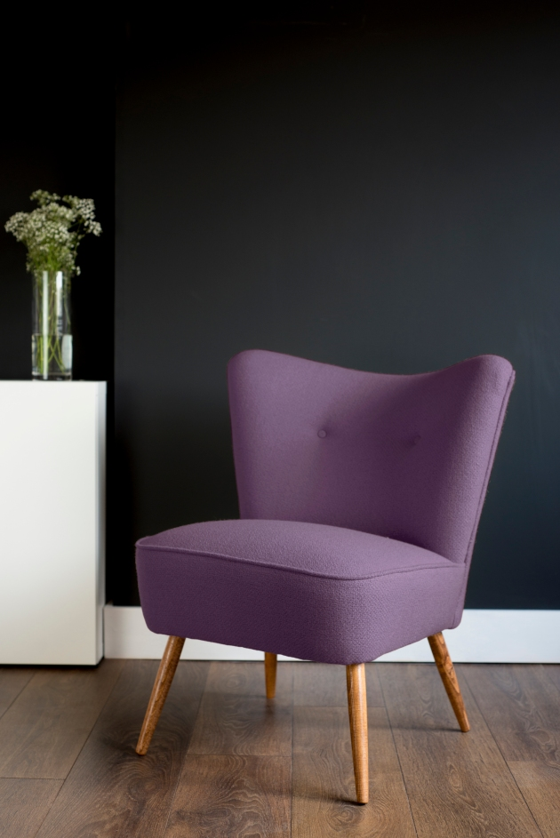 Purple Bute Wool Vintage Cocktail Chair