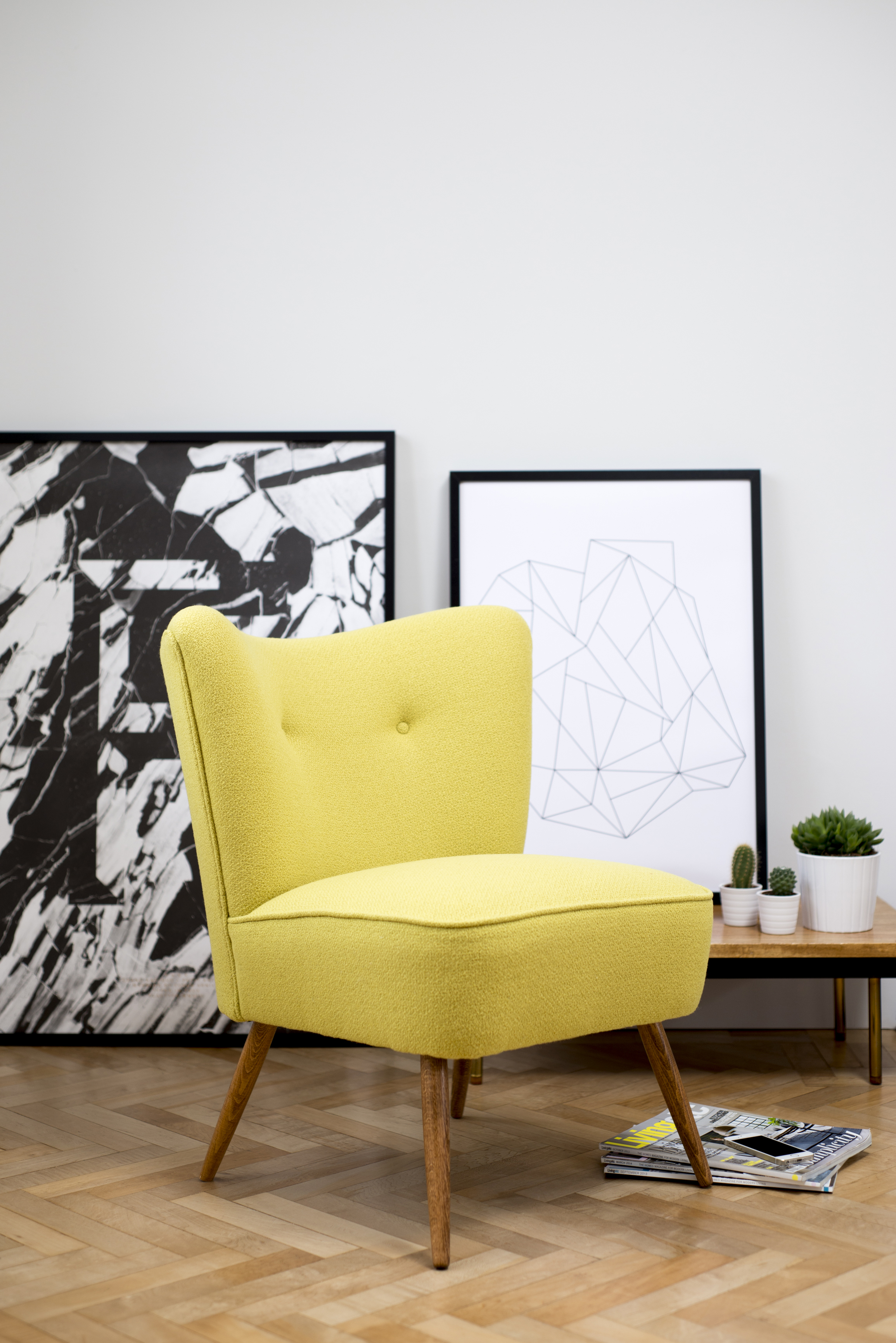 Yellow Bute Wool Vintage Cocktail Chair